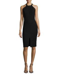 TAQNE Alice + Olivia Jase Leather-Trim Sheath Dress, Black