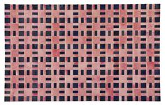 "Edelman Leather ""Signal"" cowhide rug in Wild Strawberry & Navy."