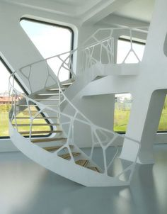 - 19 Extraordinary Railing Designs To Beautify Your Internal Stairs is today news for you. You are designing the staircase and you have Stair Handrail, Staircase Railings, Stairways, White Staircase, Hand Railing, Spiral Staircases, Contemporary Stairs, Modern Stairs, Modern Railing
