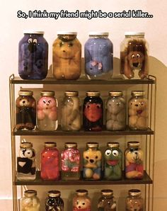 Stuffed animals in jars
