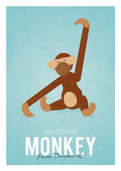 Retro poster of the wooden monkey designed by the #Danish designer Kay Bojesen