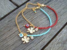 Evil Eye Beaded Clover Charm Bracelet by cocolocca on Etsy, $11.00