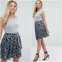 Butterfly Print 2-in-1 Summer Dress Grey Navy Patterned QED LONDON Size UK 10  #QEDLondon #FitFlareDress #AnyOccasion Day Dresses, Summer Dresses, Butterfly Print, Fit Flare Dress, Gray Dress, Boho Dress, 2 In, Sequin Skirt, London