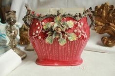 CHARMING ART NOUVEAU SMALL ANTIQUE FRENCH PLANTER BARBOTINE MAJOLICA LATE 1800's
