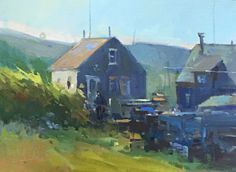 Monhegan Fishing Shacks oil by David Lussier Monhegan Island, Fishing Shack, Fine Art Gallery, Contemporary Artists, Impressionism, Maine, Landscapes, David, Houses