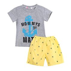 >> Click to Buy << Hi Hi Baby Store 2Pcs Cotton Kids Baby Boys Casual Anchor Letters T-shirt Shorts Set Summer Clothes 2-7Y #Affiliate
