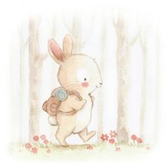 Rabbit adventure in the forest Cute Animal Illustration, Cute Animal Drawings, Watercolor Illustration, Cute Drawings, Watercolor Art, Baby Painting, Painting & Drawing, Image Deco, Bunny Art