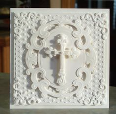 handmade card ... white on white ... many layers ... die cuts: Embossed Cross Card, Perfect for Easter, Baptism or Christening ...
