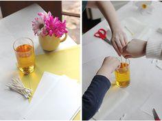 Vidám tavaszi nárciszkoszorú papírból Plastic Cutting Board, Art, Fimo, Craft, Kunst, Art Education, Artworks