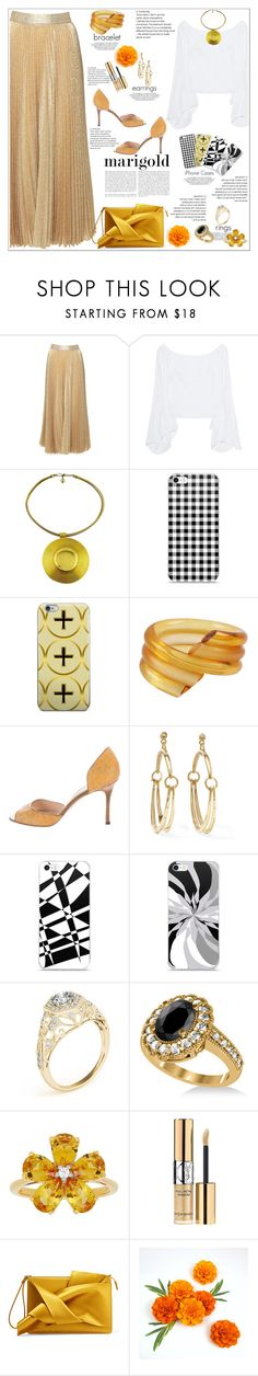 """Golden Vision"" by atelier-briella ❤ liked on Polyvore featuring Alice + Olivia, Petersyn, Lanvin, Judith Hendler, Manolo Blahnik, Chloé, Allurez, David Tutera, Yves Saint Laurent and N°21"