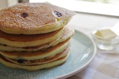 stack of pancakes with butter Lemon Blueberry Pancakes, Pancake Stack, Cake Flour, Butter, Breakfast, Easy, Recipes, Food, Morning Coffee