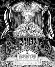 'The Imperial Cult' by Stephen Bower. Influenced by the music of Houston metal punk and grindcore Stephen Bower's ink drawings share his insights into the future of the human race in the face of technological singularity. Want to see more? Don't miss Stephen's first solo exhibition - currently on show at @coprogallery  via BEAUTIFUL BIZARRE MAGAZINE OFFICIAL INSTAGRAM - Celebrity  Fashion  Haute Couture  Advertising  Culture  Beauty  Editorial Photography  Magazine Covers  Supermodels…