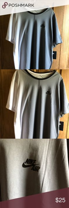 NWT Nike Tee NWT The Nike Tee Grey and White Size XL 100% Cotton  Great with shorts or Casual look Nike Air on chest  Air on Sleeve  Originally 35  Thank you for your consideration to buy from Charlie's-CornerBargains  We appreciate your positive feedback  We ship items within one day All merchandise is in a clean smoke free/pet free environment. Professional EBay Sellers We leave positive feedback for all buyers that buy positively. Nike Shirts Tees - Short Sleeve