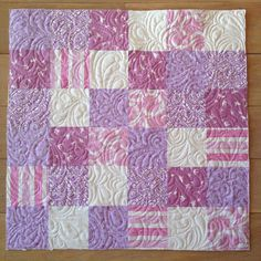 Baby quilt I put together last Friday. Purple/lilac and pink for a sweet girl on her way. 27inches square. #babyquilt #freemotionquilting