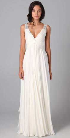 Casual Long A Line V Neck White Chiffon Wedding Dress 2013 | Lafa Rila Dresses