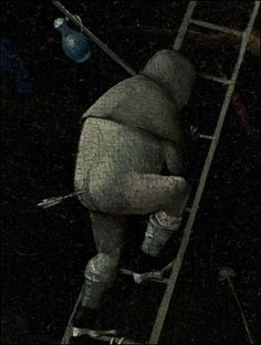 BOSCH's REVENGE ~ A detail of 'The Garden of Earthly Delights' by Hieronymus Bosch, between 1480 and 1505. The painter's personal enemy, maybe?