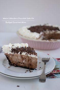 Marie Callenders Chocolate Satin Pie www/budgetgourmetmom.com #pie #chocolate
