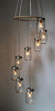 DIY: How To Make Your Own Mason Jar Chandelier...This Tutorial Is NOT For The One Pictured, But It Does Show You How To Make One Very Similar...Click On Picture For An 18 Step By Step Tutorial...