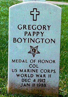 "Gregory ""Pappy"" Boyington (1912 - 1988) Leader of the ""Black Sheep Squadron"" in…"