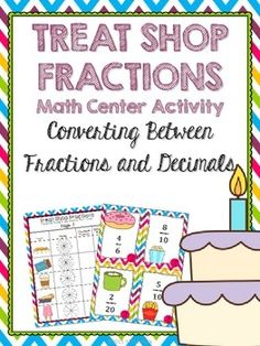 Super-cute math center activity to help your 4th and 5th grade students practice converting between fractions and decimals. Easy-to-prep and engaging for students!
