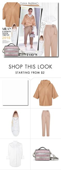 """""""Olivia Palermo at Milan Fashion Week 2018 - Tod's"""" by anne-mclayne-andreea-miclaus ❤ liked on Polyvore featuring Tod's, Valentino, GetTheLook, OliviaPalermo, CelebrityStyle and milanfashionweek"""