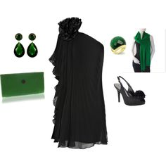 """""""Black Emerald Cocktail Dress  by ggdesigns on Polyvore"""
