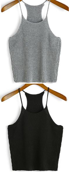 Super soft strap knit cami tops at Just love both of two colors! Cami Tops, Crochet Shirt, Knit Crochet, Crochet Clothes, Diy Clothes, Love Fashion, Fashion Outfits, Summer Outfits, Cute Outfits