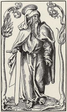 Cranach the Elder (attributed, not signed), St. Simon the Zealot, Woodcut, 32.2 x 18.5 cm, ca. 1512, Berlin, Kupferstichkabinett, from a series of 14 sheets.