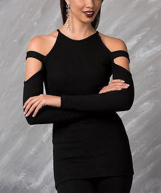 Take a look at this Milan Kiss Black Strappy Cold-Shoulder Top today! Cut Out Top, Diy Clothing, Clothing Styles, Types Of Fashion Styles, Dress To Impress, Cold Shoulder Dress, Fashion Outfits, Fashion Ideas, Women's Fashion