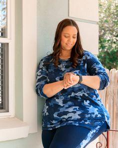 Navy Camo Print Activewear – Estrella Fashion Report Activewear Sets, Plus Size Activewear, Under Armour Shoes, Camo Print, White Pants, Athleisure, Active Wear, Tie Dye, Tunic Tops