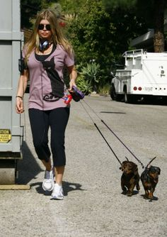 Fergie with her doxie's Meatloaf & Zoe