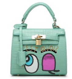 women flap bag small cute fun mouse big eye bags leather handbags kawaii sweet heart girl lock sequins bolsa messenger bags