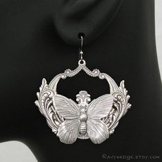 Gypsy Soul Silver Butterfly Earrings Big Hoop