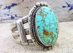 Vintage Old Pawn Navajo Sterling Silver Cuff Bracelet w Large Vivid Pilot Mountain Turquoise Stone. Gorgeous Turquoise. Handstamped Silver