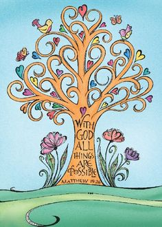 Joanne Fink hand-lettered her favorite scripture into the trunk of this colorful Zenspirations tree.
