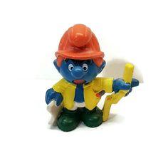 Smurfs 20229 Master Builder Smurf Architect Vintage Peyo Schleich PVC Figure  #Schleich Vintage Toys, Minions, Smurfs, Tennis, Nostalgia, Childhood, Ebay, Cake, Old Fashioned Toys
