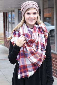 Plaid print blanket scarf. Rust, purple, mustard, blue, and ivory in color. Large, soft, and cozy.