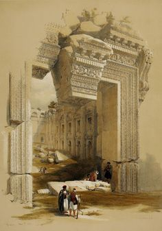 Baalbec - The doorway at the Temple of Jupiter, 1839 (lithograph by David Roberts, Ancient Rome, Ancient History, Art Painting Images, Oriental, Pre Raphaelite, Architecture Drawings, Doorway, Old Art, Archaeology