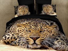 Unique design print bedding sets create a cheerful vibe for any decor. Full, queen size animal, flower or landscape print design bedding sets have a striking design. Unusual print bedding sets with tones perfected the art of displaying a bed! Cheetah Print Bedding, Cheetah Bedroom, Leopard Prints, Animal Prints, 3d Bedding Sets, Duvet Bedding, Comforter Sets, Comforter Cover, Gold Comforter