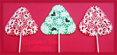 Place peppermints on parchment paper lined sheet pan. Bake 8-10 minutes @ 275 degrees. Upon removing from oven, immediately press decorations into melted candy and insert lollipop stick. Just dab on a little corn syrup if you're having trouble with decorations sticking.  Easy & pretty melted peppermint Christmas trees!