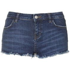 TopShop Moto Indigo Daisy Short ($31) ❤ liked on Polyvore featuring shorts, bottoms, indigo denim, daisy print shorts, mini shorts, low rise shorts, hot short shorts and micro shorts
