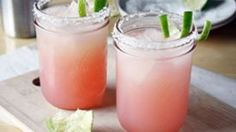 Margaritas flavored with tangy and sweet rhubarb!