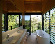 Far north Queensland bathroom by Charles Wright Architects.  LET US INSPIRE YOU ~ DREAM, CONCIEVE, CREATE YOUR DREAM HOME. eco@jumrum, the ultimate rural residential land release in North Queensland. www.ecojumrum.com