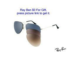 Ray Ban RB3460 Aviator Flip Out Sunglasses silver frame / blue lens