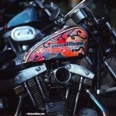 Intricate and colorful sportster tank