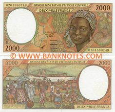 Cameroon 2000 Francs - Front: Map of Central African States. Back: Harbour scene. African States, African Countries, Hispanic Countries, Cosmic Art, Spanish Speaking Countries, Congo Kinshasa, African Girl, Out Of Africa, African Animals