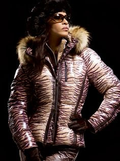 Head-turning Emmegi Tiger Print Down #Ski #Jacket.  #Aspen