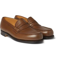 Weston - 180 The Moccasin Grained-Leather Loafers - Men - Brown Penny Loafers, Leather Loafers, Loafers Men, Loafer Shoes, Men's Shoes, Dress Shoes, Weston Shoes, Mackintosh Raincoat, Gucci Polo Shirt
