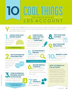 10 Cool Things You Can Do With an LDS Account Infographic - if you haven't delved into your account yet, see what you can do on LDS.org