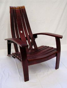Wine barrel furniture. Barrel stave chair